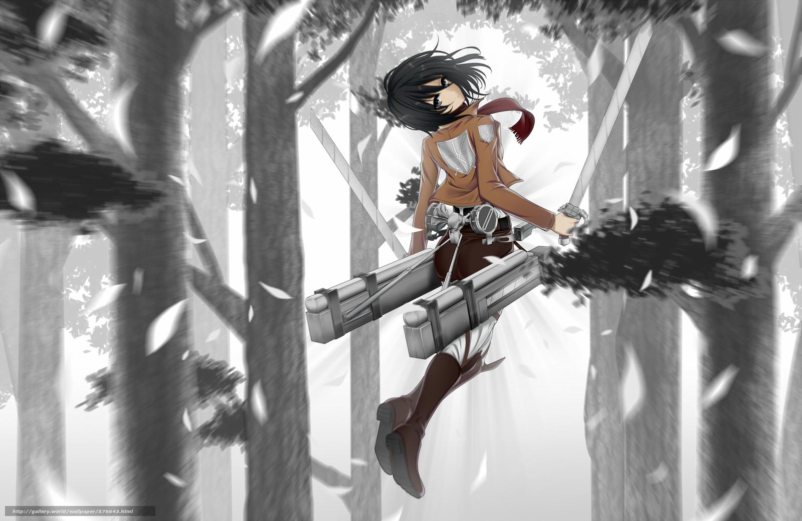 Скачать обои вторжение гигантов,  природа,  деревья,  аниме бесплатно для рабочего стола в разрешении 2365x1539 — картинка №576643