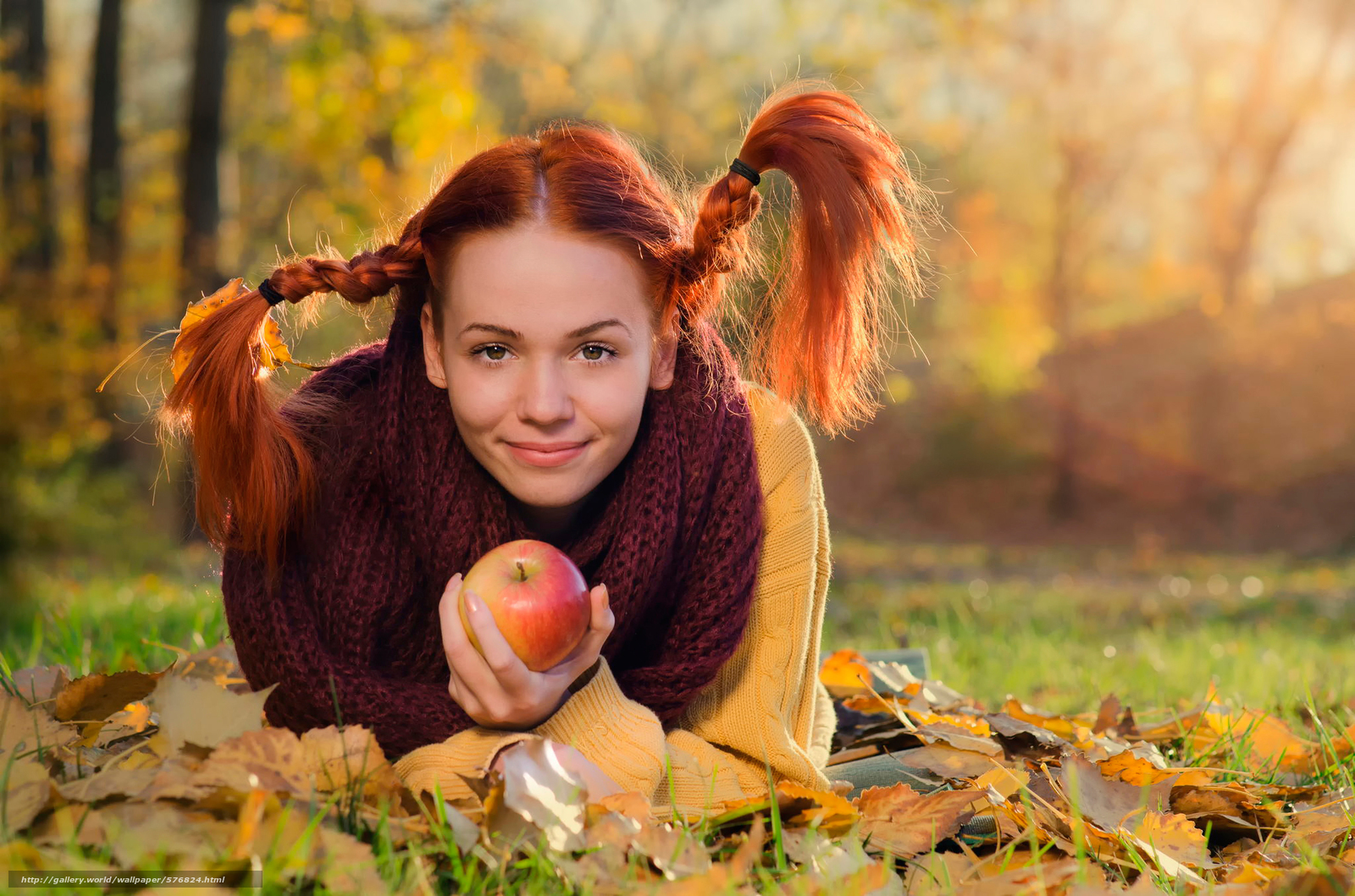 Download wallpaper pigtails,  apple,  autumn,  redhead free desktop wallpaper in the resolution 2048x1356 — picture №576824