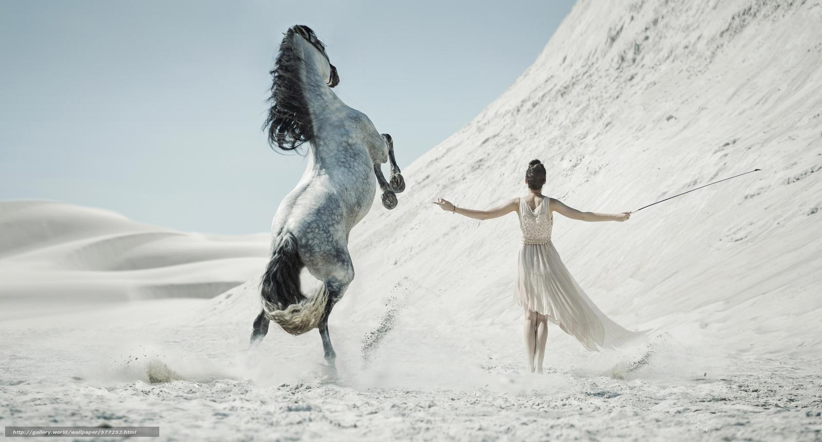 Скачать обои конь,  девушка,  песок,  пустыня бесплатно для рабочего стола в разрешении 6000x3233 — картинка №577252