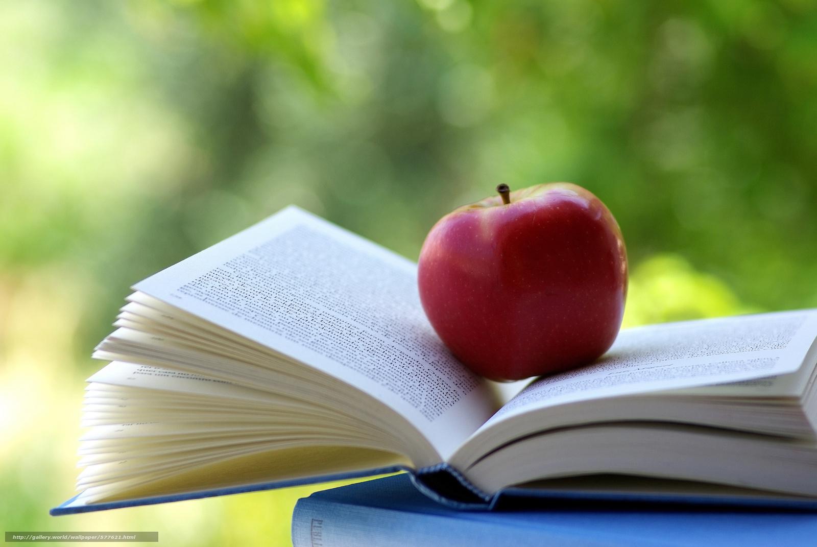 Скачать обои чтение,  яблоко,  книга,  предмет бесплатно для рабочего стола в разрешении 3872x2592 — картинка №577621