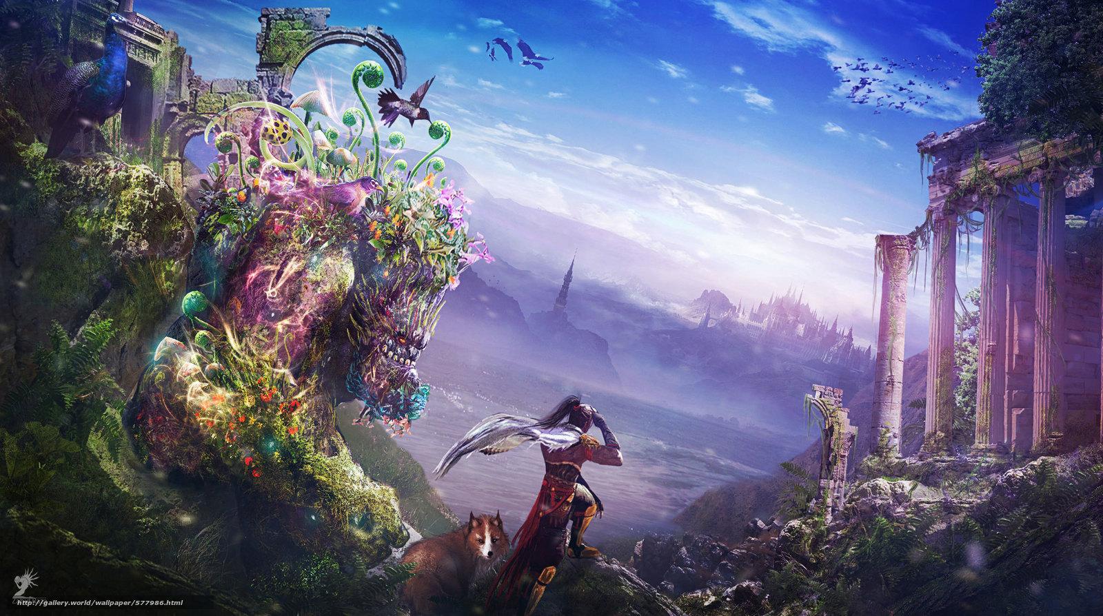Download wallpaper Art,  city,  landscape,  fantasy world free desktop wallpaper in the resolution 2298x1284 — picture №577986