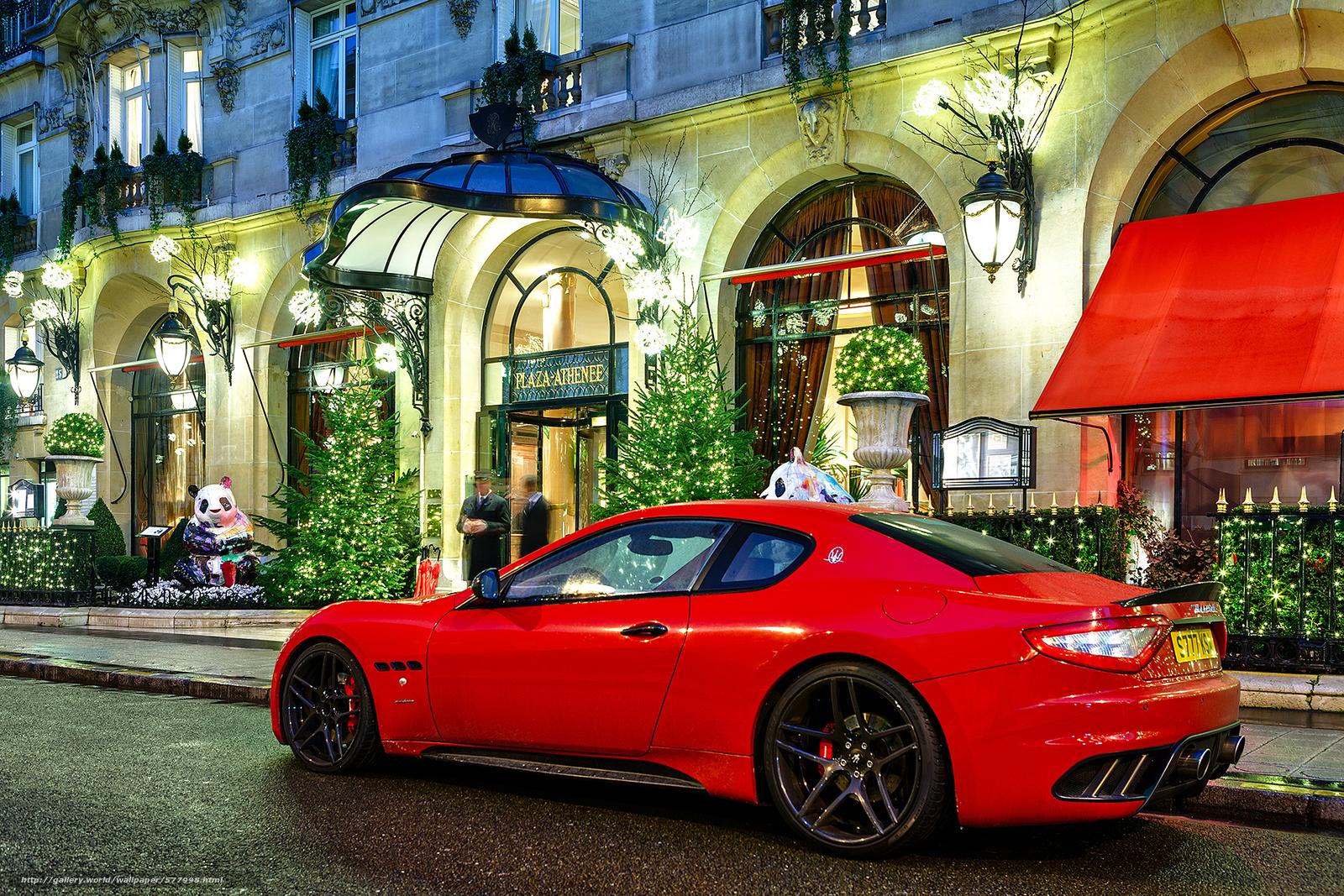 Скачать обои Maserati,  ночь,  красный,  здание бесплатно для рабочего стола в разрешении 1920x1280 — картинка №577998