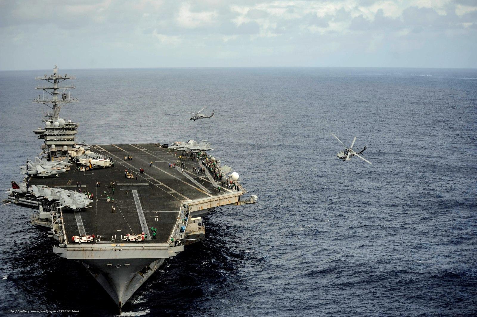 Скачать обои обслуживающий персонал,  самолёты,  многоцелевые вертолеты,  море бесплатно для рабочего стола в разрешении 4256x2832 — картинка №578201