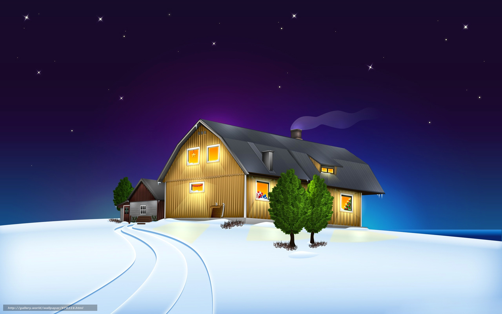 Download Hintergrund Zuhause, Weihnachten, Landschaft, Stern Freie ...