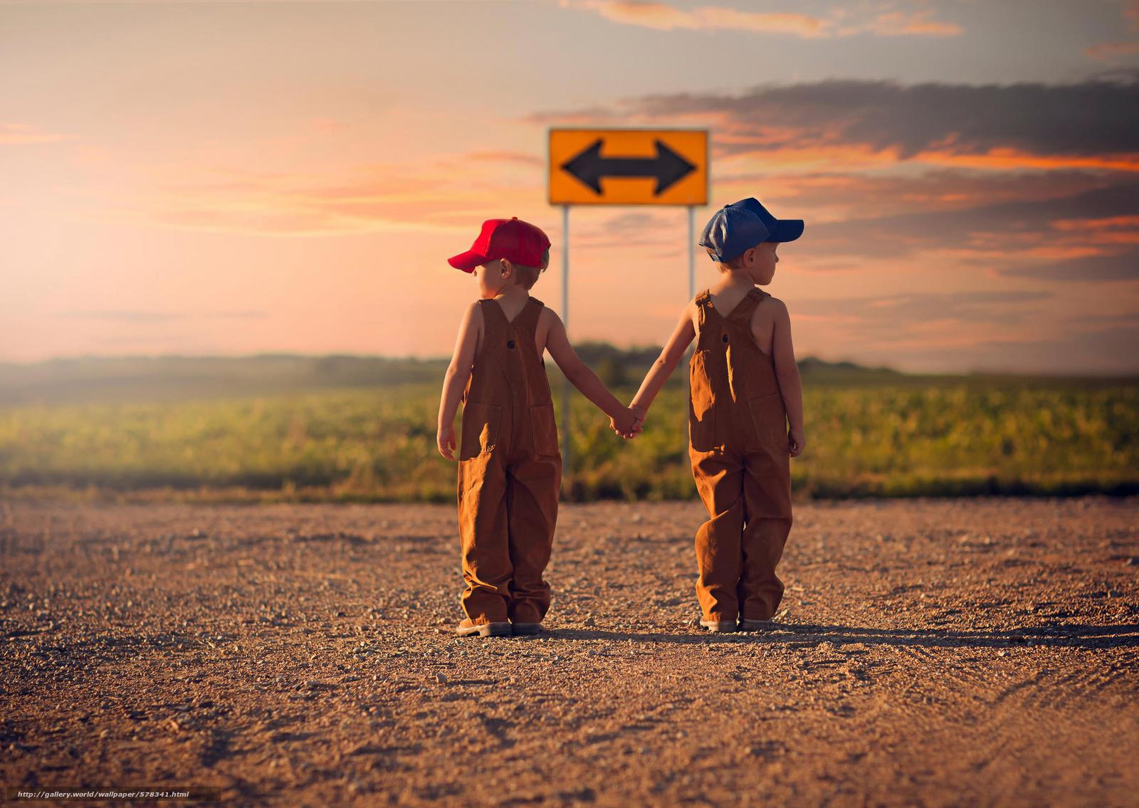 Скачать обои дорога,  указатель,  направление,  дети бесплатно для рабочего стола в разрешении 2048x1453 — картинка №578341