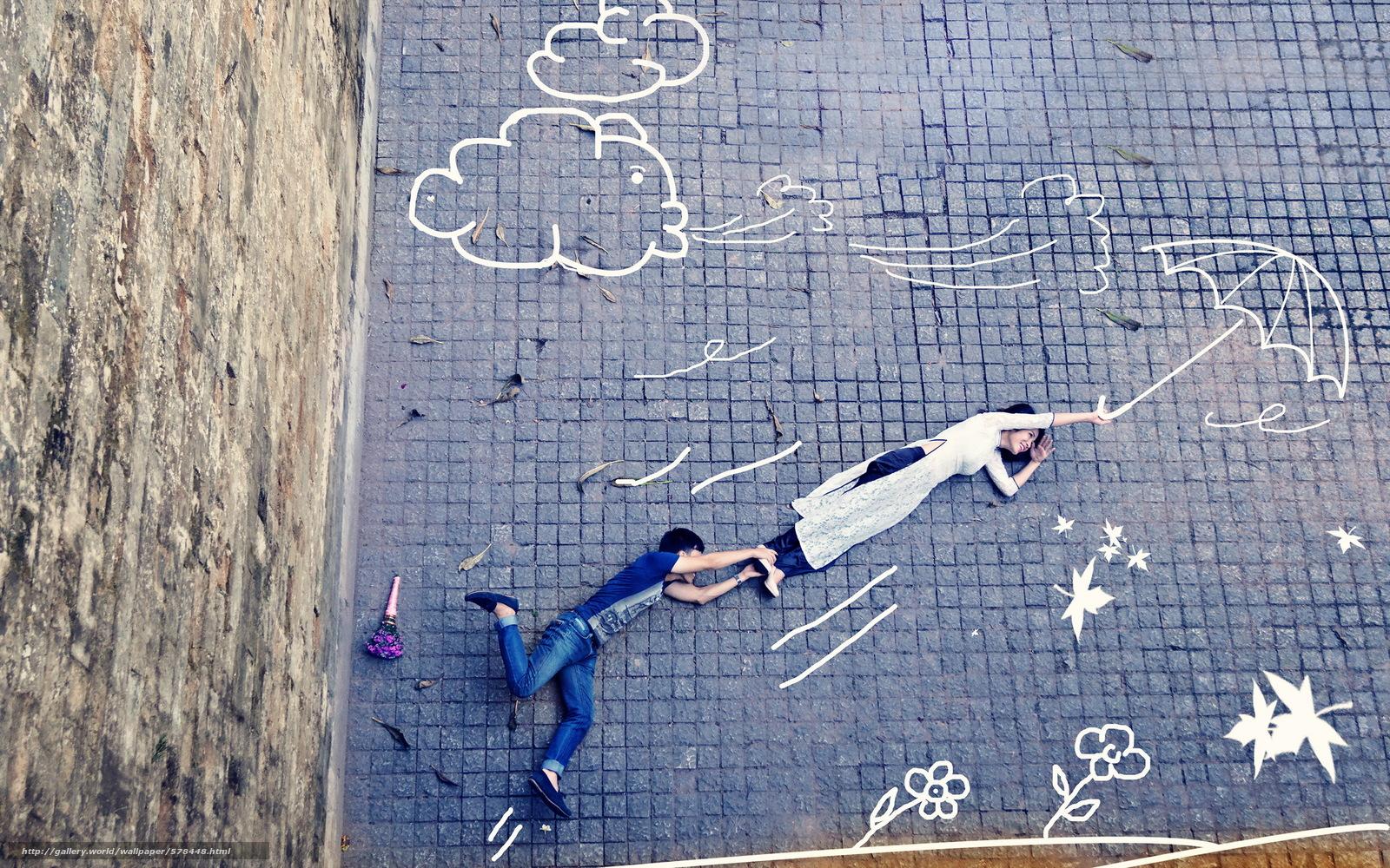 Скачать обои девушка,  полёт,  улица,  парень бесплатно для рабочего стола в разрешении 2560x1600 — картинка №578448