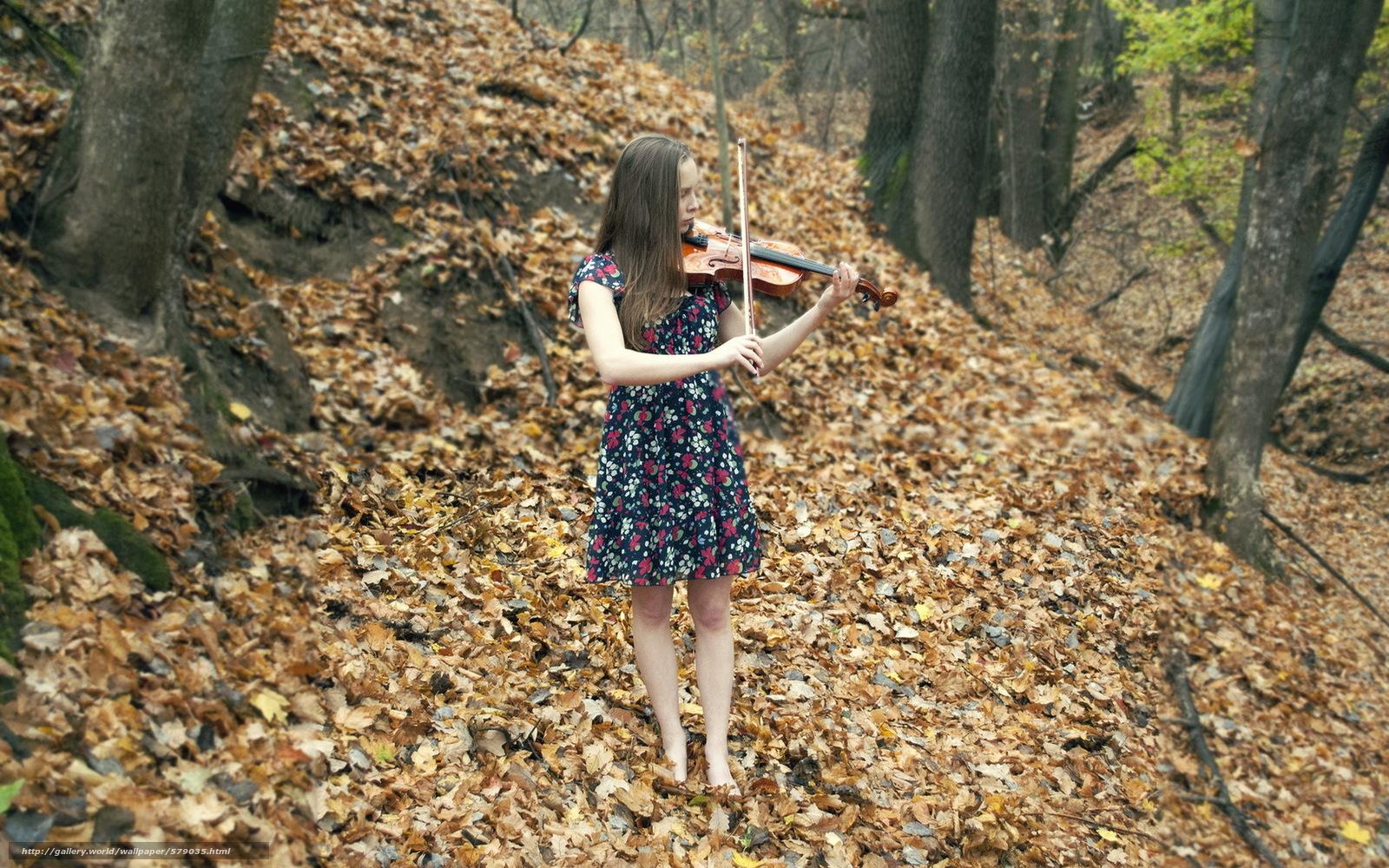 Download wallpaper Music,  violin,  autumn,  girl free desktop wallpaper in the resolution 1920x1200 — picture №579035