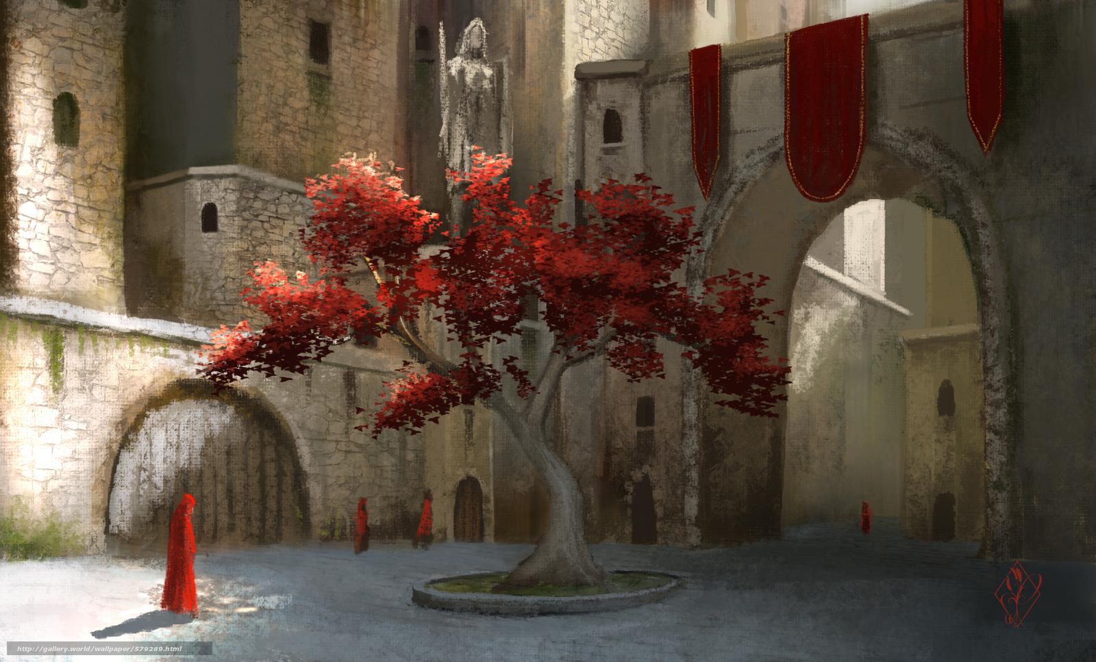 Скачать обои арка,  листва,  двор,  дерево бесплатно для рабочего стола в разрешении 1920x1160 — картинка №579289