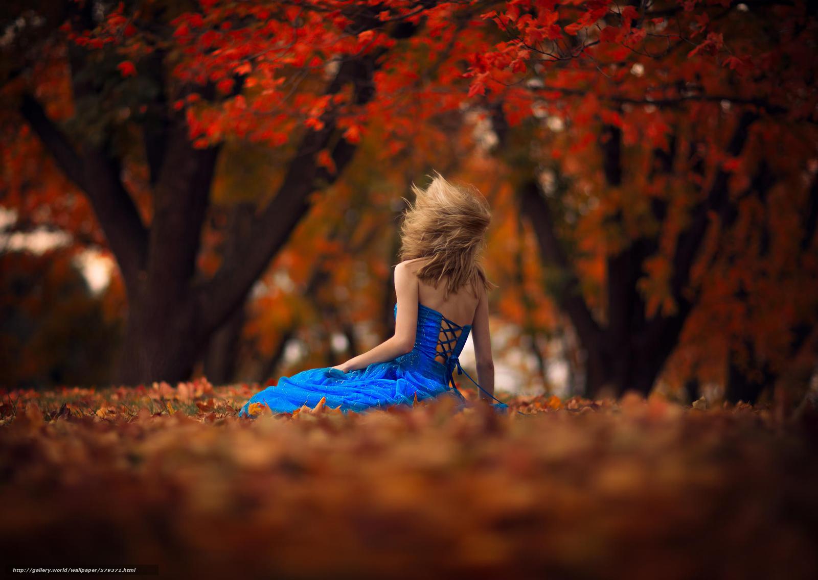 Скачать обои ветер,  девушка,  боке,  листья бесплатно для рабочего стола в разрешении 2048x1454 — картинка №579371