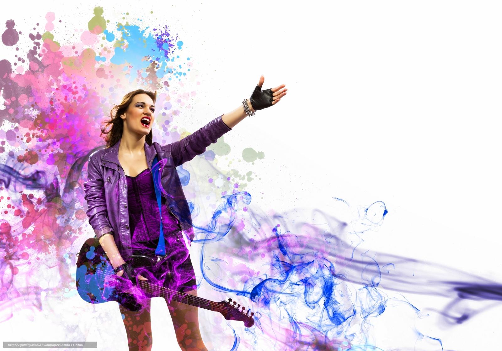 Download wallpaper Music,  smoke,  guitar,  rock free desktop wallpaper in the resolution 3800x2660 — picture №580041