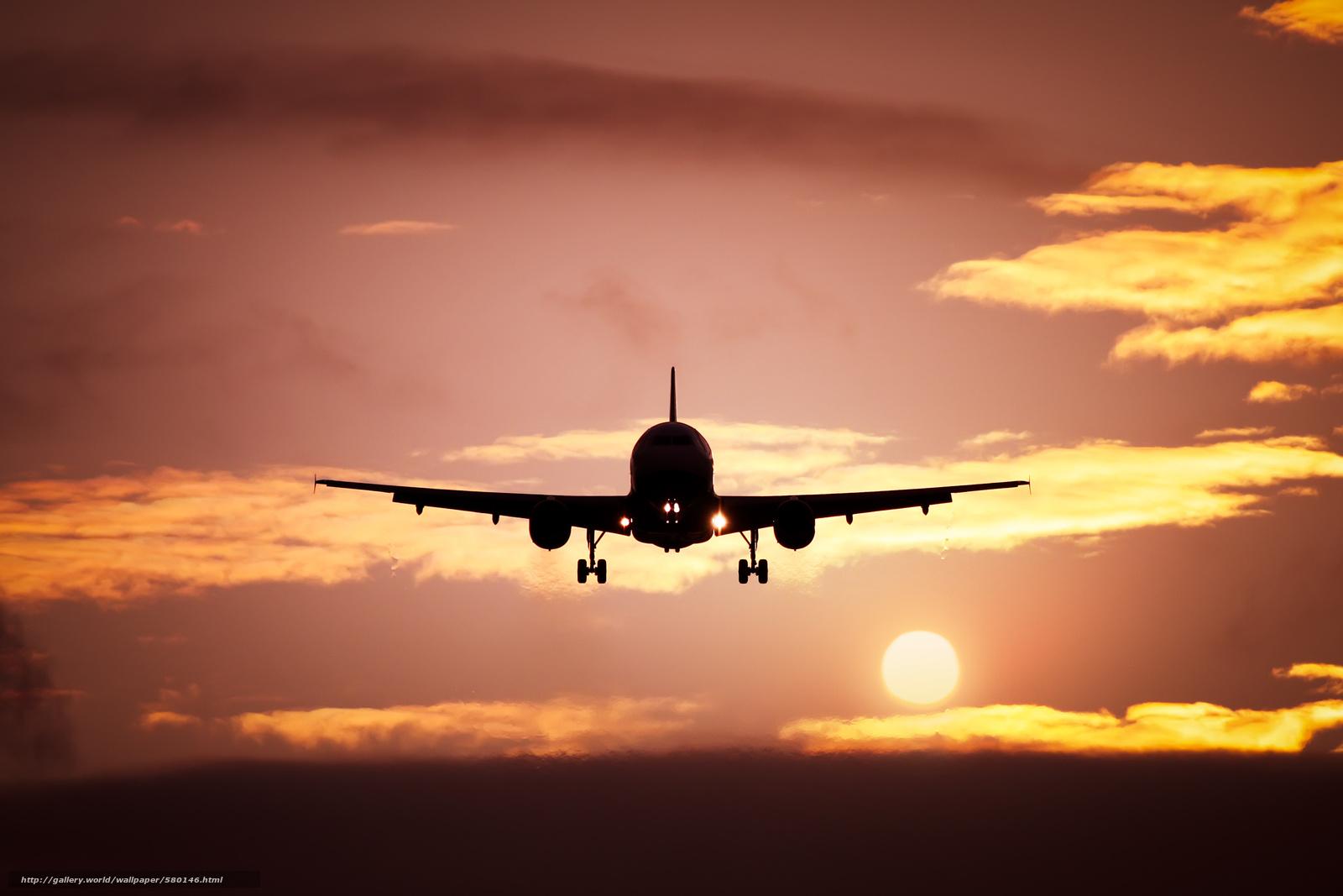 Скачать обои взлёт,  солнце,  облака,  вечер бесплатно для рабочего стола в разрешении 3000x2000 — картинка №580146