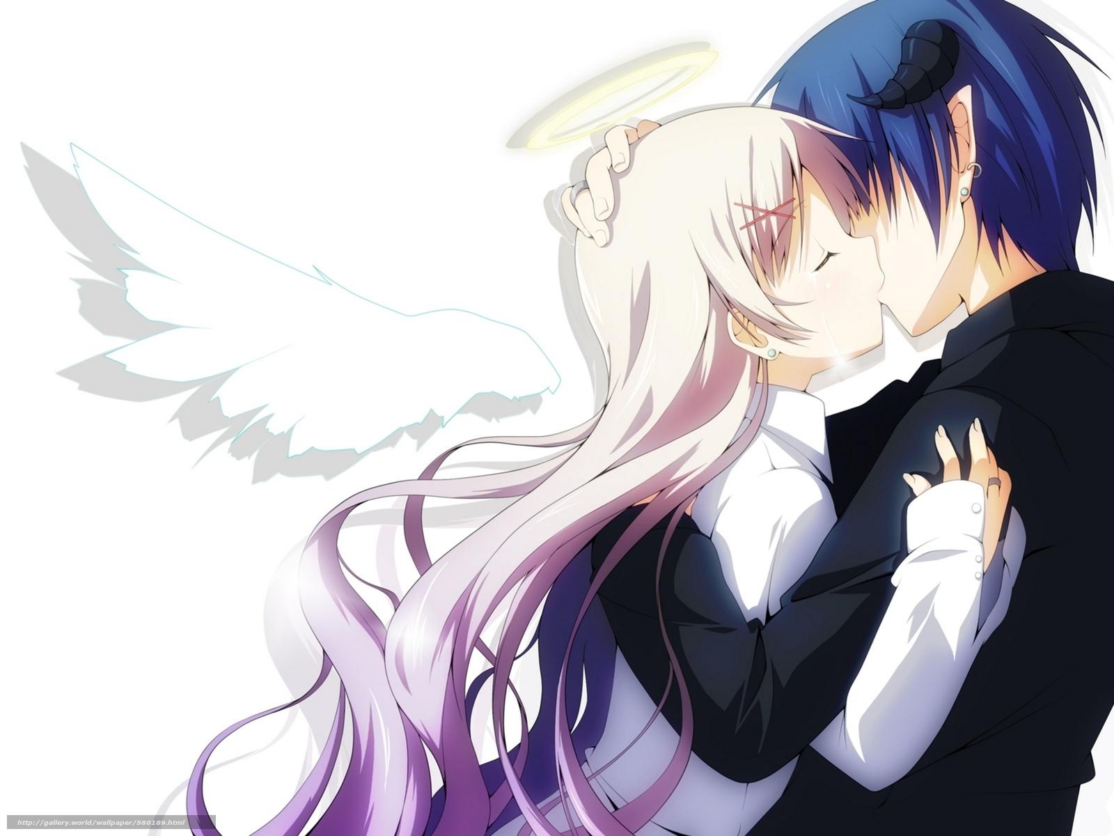 Download wallpaper nimbus,  anime,  girl,  kiss free desktop wallpaper in the resolution 1920x1440 — picture №580189