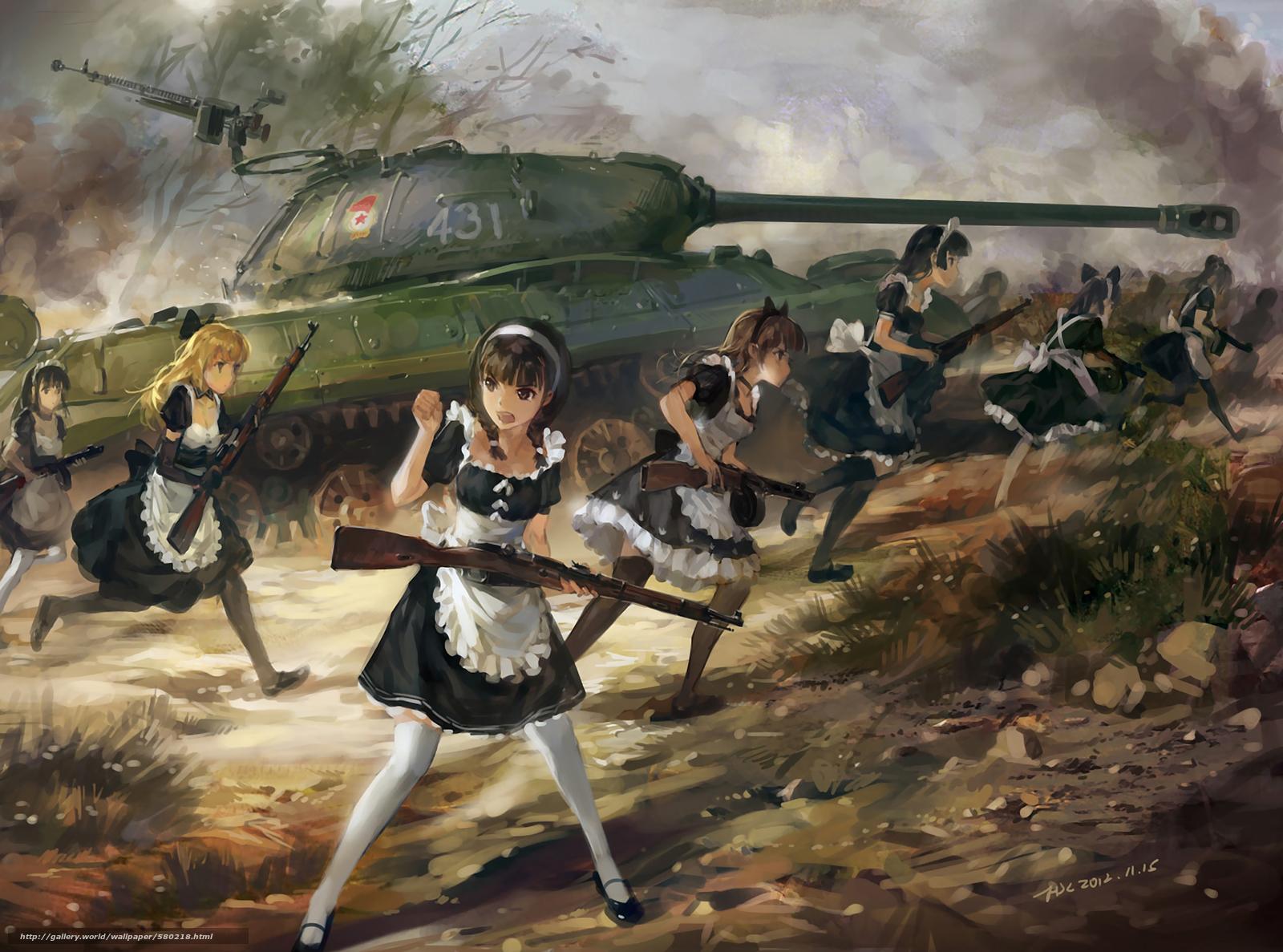 Download wallpaper Art,  Mosin rifle,  Girls,  maid free desktop wallpaper in the resolution 1920x1424 — picture №580218