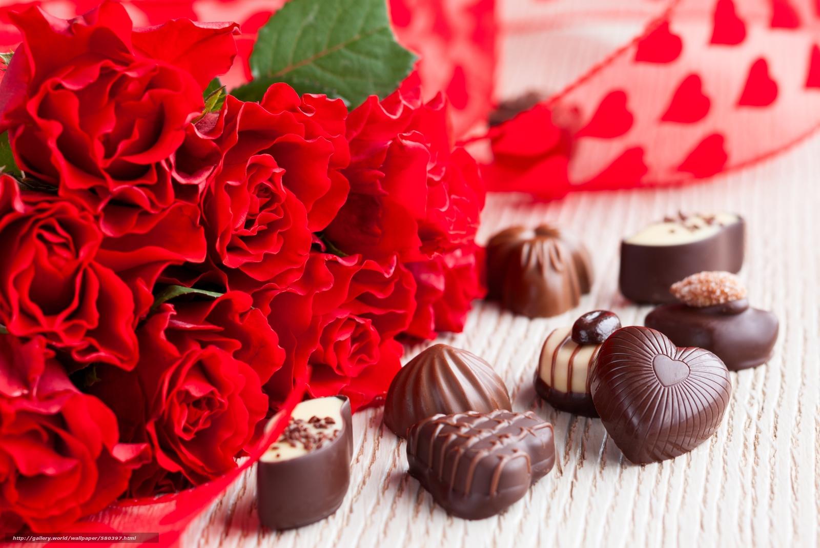 下载壁纸 花束,  玫瑰,  糖果,  巧克力 免费为您的桌面分辨率的壁纸 5000x3340 — 图片 №580397