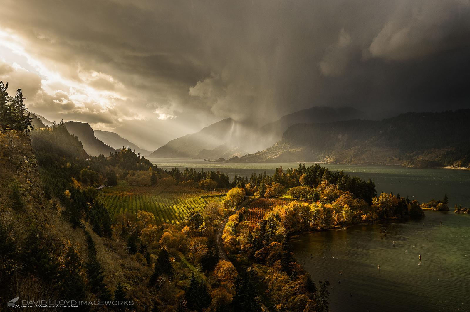 Скачать обои свет,  Колумбия,  река,  осень бесплатно для рабочего стола в разрешении 2048x1360 — картинка №580476