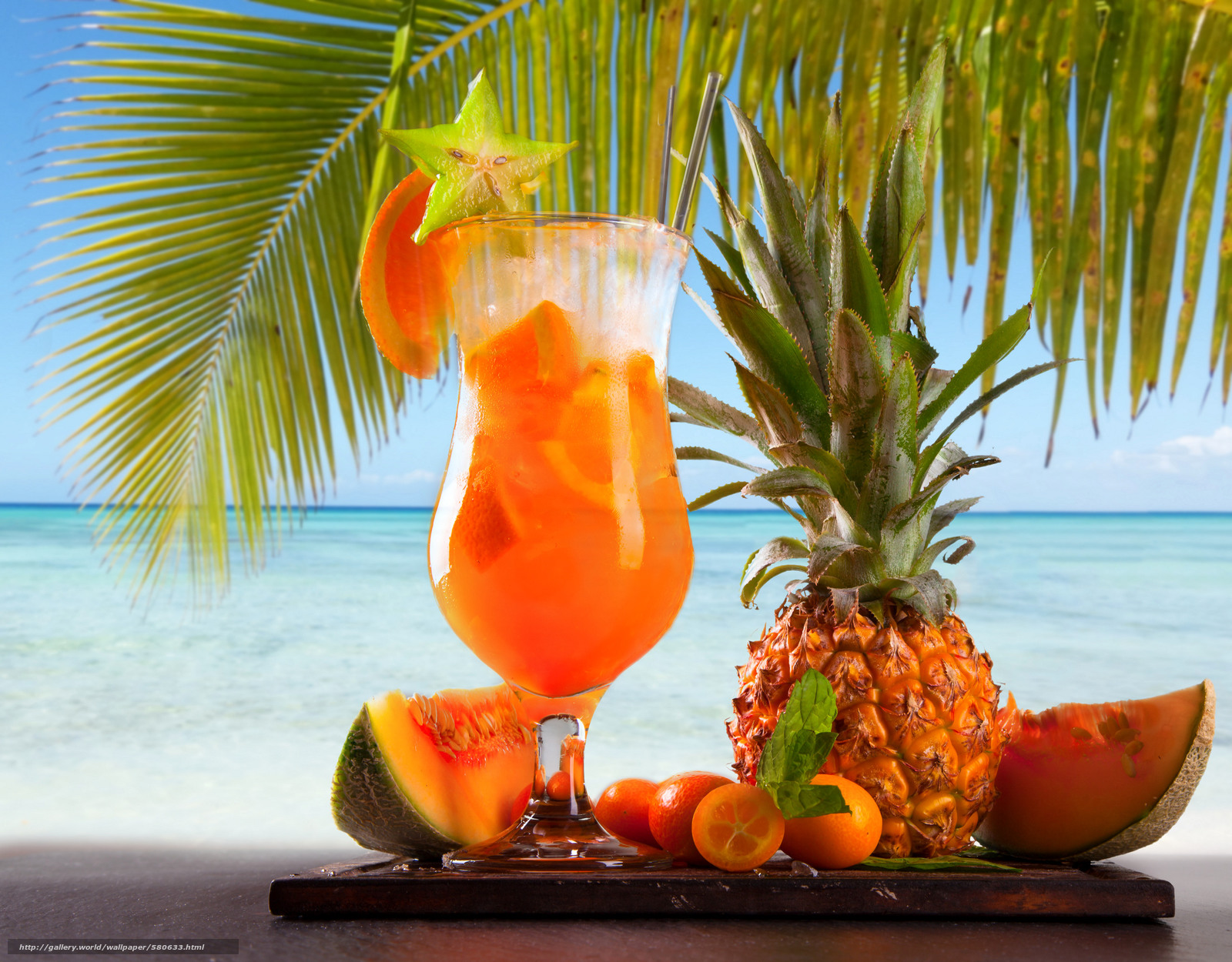 Download wallpaper summer cocktail,  palm,  pineapple,  fruit free desktop wallpaper in the resolution 2560x2000 — picture №580633