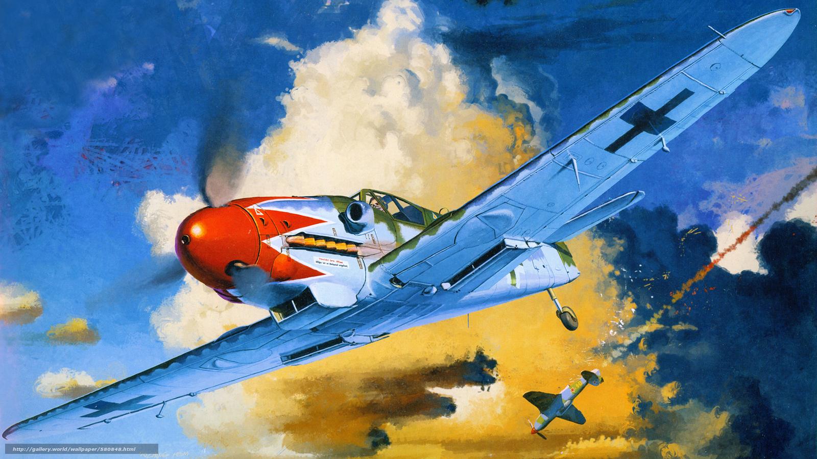Скачать обои бой,  арт,  истребитель,  самолёты бесплатно для рабочего стола в разрешении 1920x1080 — картинка №580848
