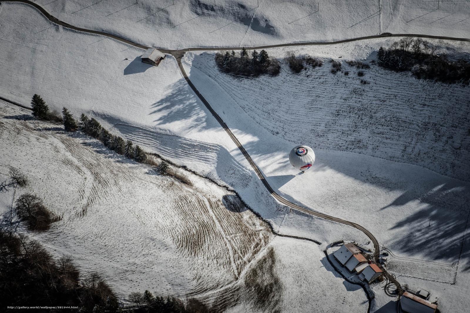 Скачать обои воздушный шар,  дорога,  дома,  вид сверху бесплатно для рабочего стола в разрешении 2500x1664 — картинка №581944