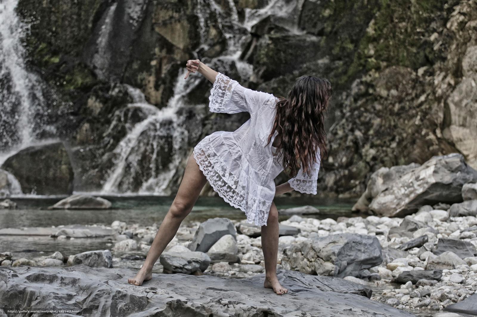 Download wallpaper dance,  girl,  mountain river,  stones free desktop wallpaper in the resolution 2560x1706 — picture №582183