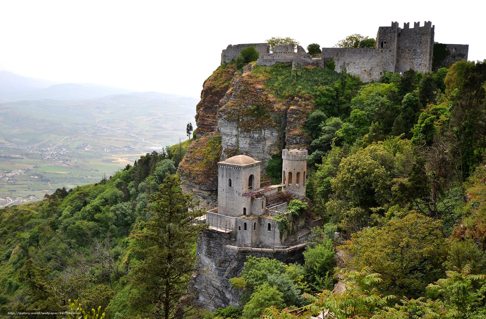scaricare gli sfondi roccia,  Erice,  castello,  valle Sfondi gratis per la risoluzione del desktop 2048x1346 — immagine №582291