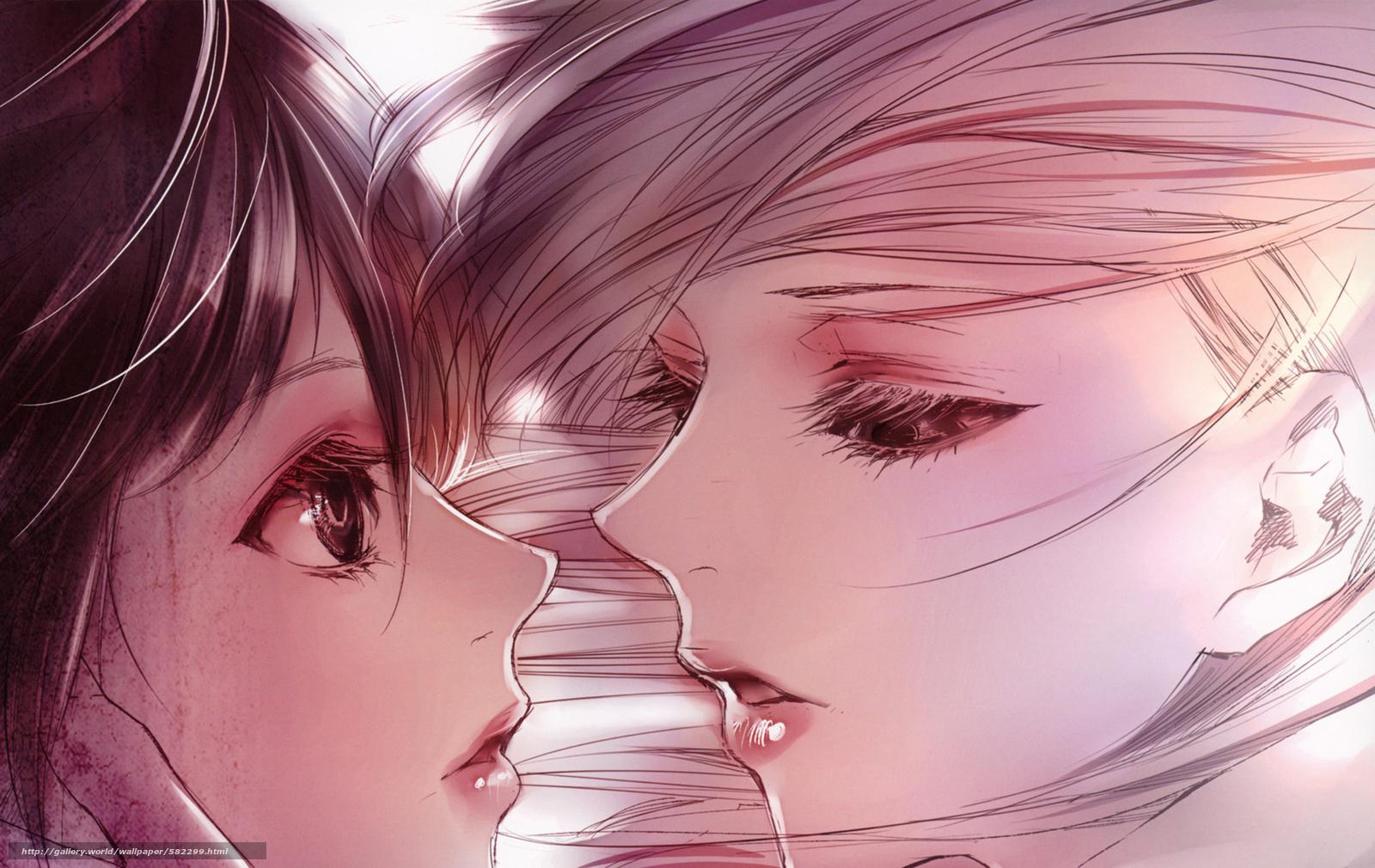 Скачать обои двое,  крупный план,  Девушки,  почти поцелуй бесплатно для рабочего стола в разрешении 1921x1213 — картинка №582299