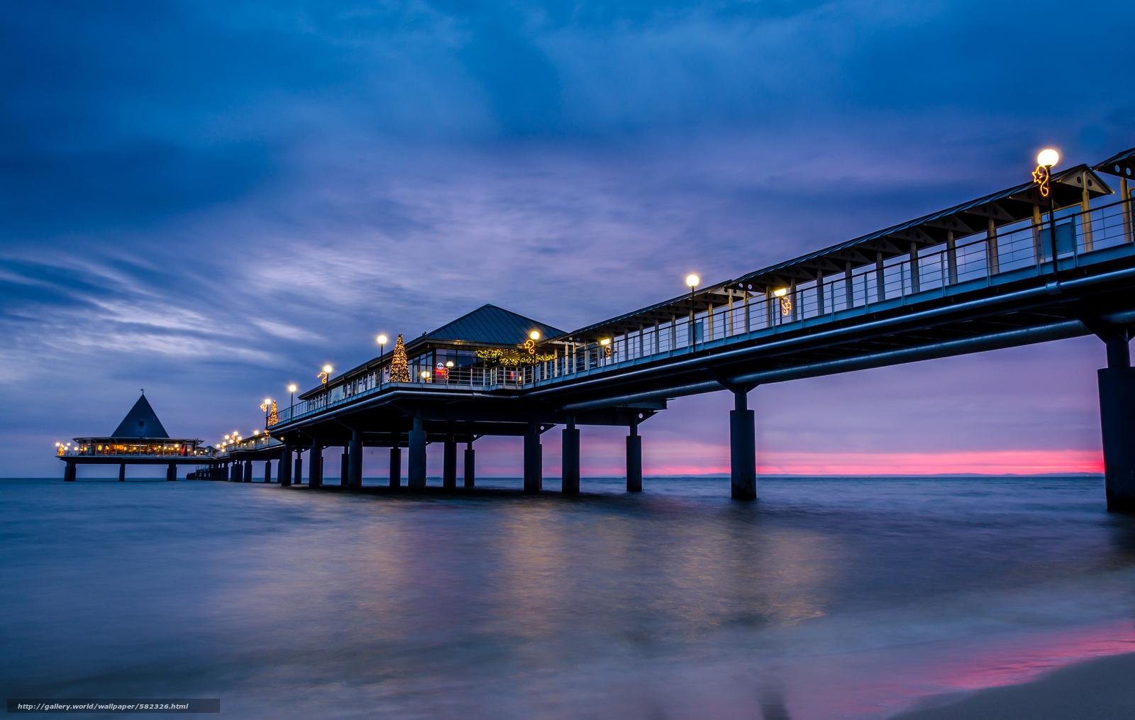 Скачать обои закат,  Море,  сиреневое,  мост бесплатно для рабочего стола в разрешении 2048x1299 — картинка №582326