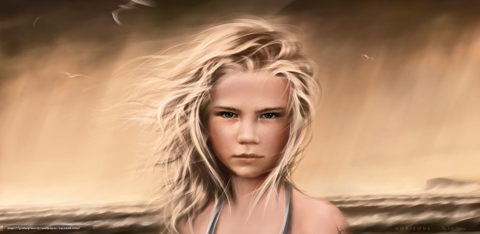 Baixar Wallpaper SEAGULLS,  cabelo,  menina,  tempestade Papis de parede grtis na resoluo 4450x2170 — quadro №582559