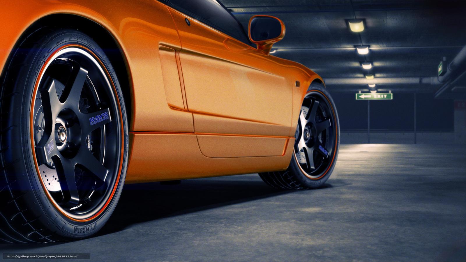 Скачать обои парковка,  колесо,  Honda,  диск бесплатно для рабочего стола в разрешении 1920x1080 — картинка №582631