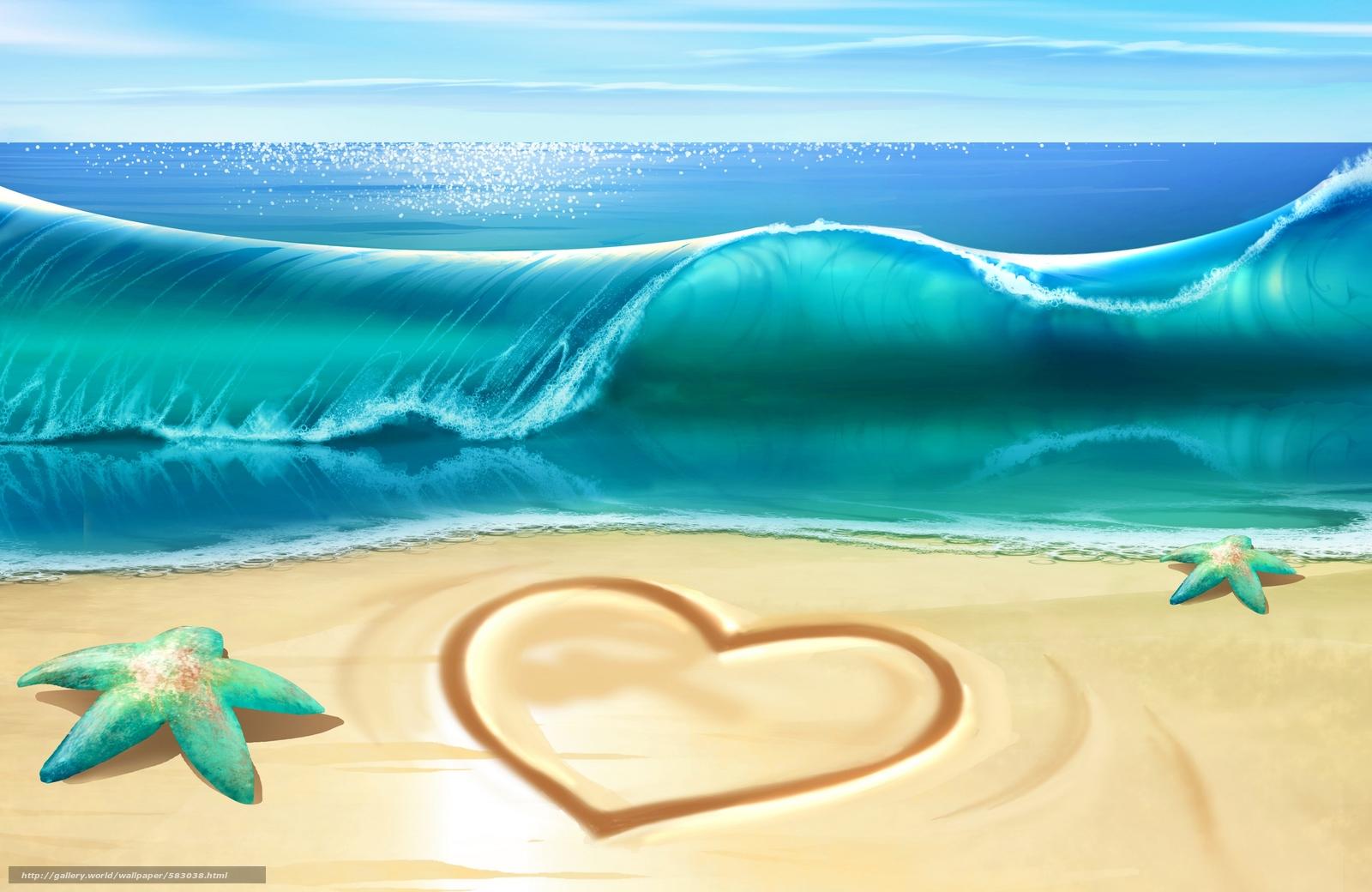 Scaricare gli sfondi cuore stelle marine mare spiaggia for Foto per desktop mare