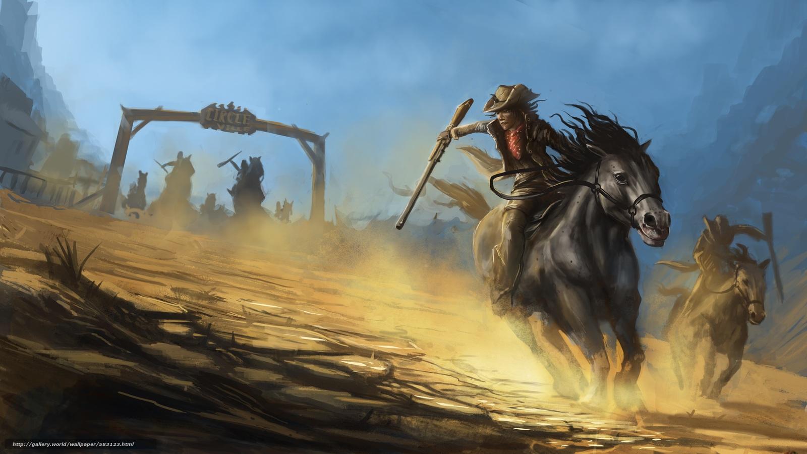 scaricare gli sfondi cavallo,  cappelli,  arma,  inseguimento Sfondi gratis per la risoluzione del desktop 8000x4501 — immagine №583123