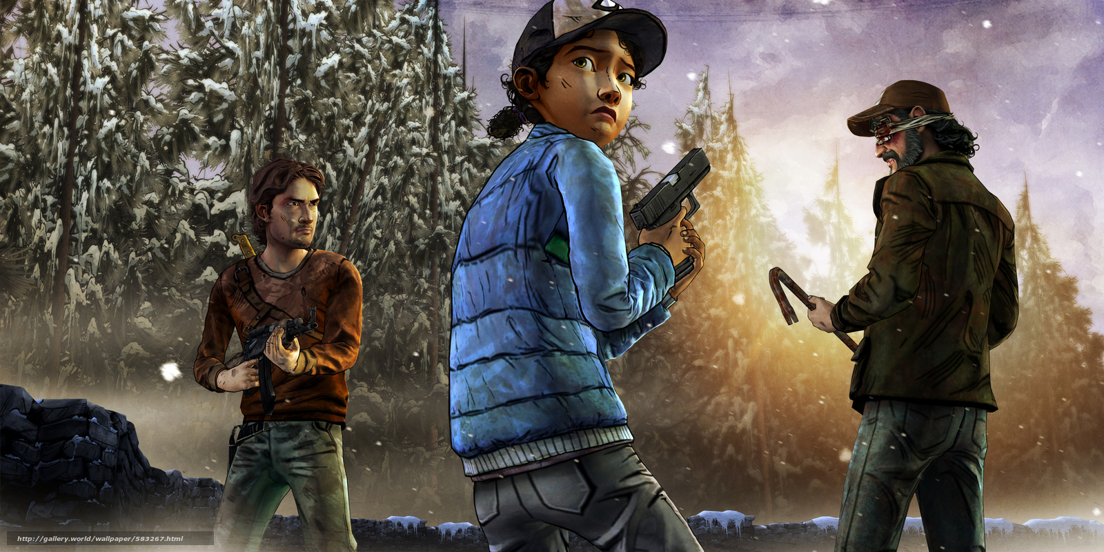 Download wallpaper Clementine,  weapon,  situation,  view free desktop wallpaper in the resolution 2400x1200 — picture №583267