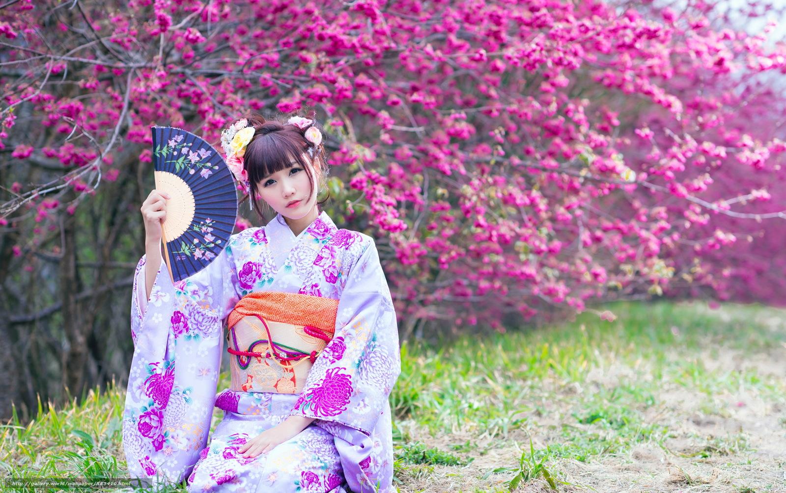 Скачать обои девушка,  сад,  весна,  азиатка бесплатно для рабочего стола в разрешении 4924x3092 — картинка №583410