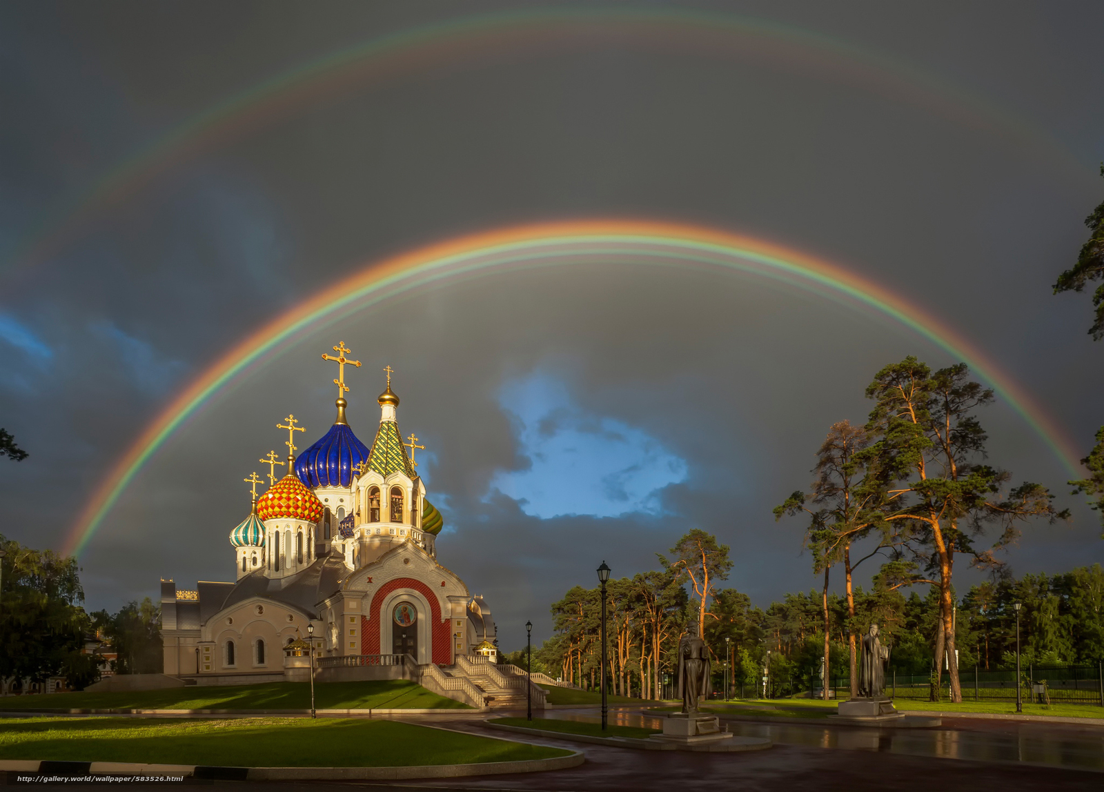 Download wallpaper Patriarchal Compound,  rainbow,  The Church of St. Prince Igor of Chernigov,  Peredelkino free desktop wallpaper in the resolution 2048x1470 — picture №583526