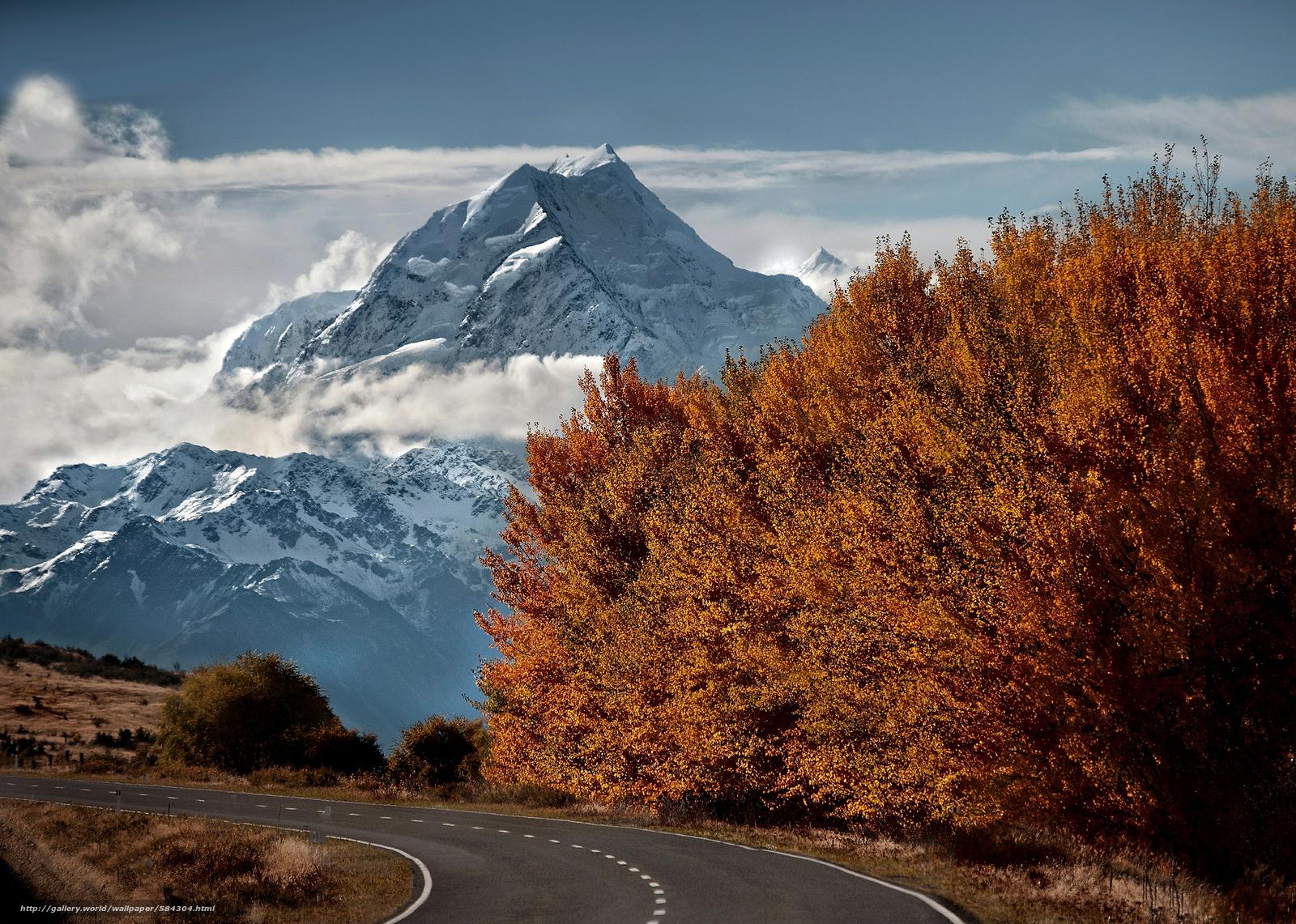 Скачать обои дорога,  снег,  осень,  деревья бесплатно для рабочего стола в разрешении 2048x1460 — картинка №584304