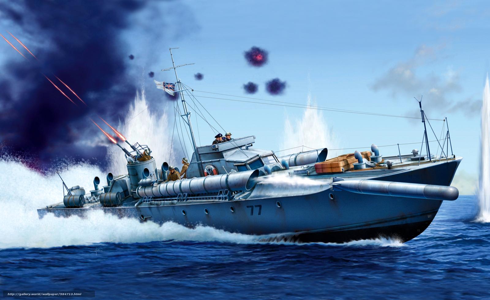 Download wallpaper gun,  sea,  torpedo,  BOAT free desktop wallpaper in the resolution 2000x1225 — picture №584713