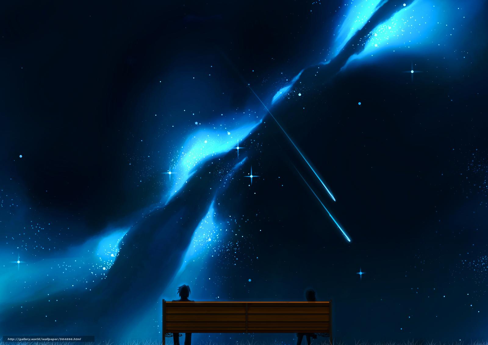 Скачать обои небо,  арт,  двое,  девушка бесплатно для рабочего стола в разрешении 3507x2480 — картинка №584896