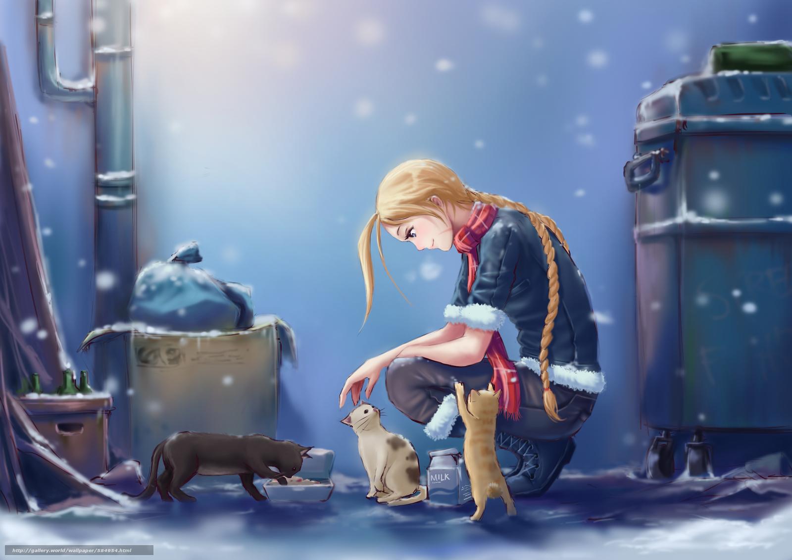 Скачать обои девушка,  молоко,  снег,  город бесплатно для рабочего стола в разрешении 3508x2480 — картинка №584954