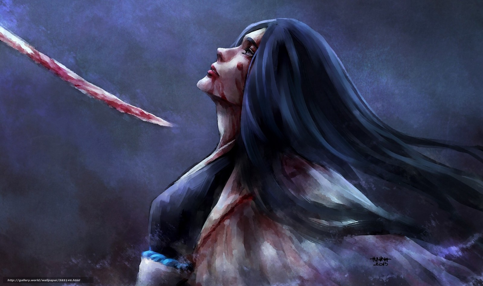 Скачать обои девушка,  меч,  синигами,  плащ бесплатно для рабочего стола в разрешении 1920x1136 — картинка №585146
