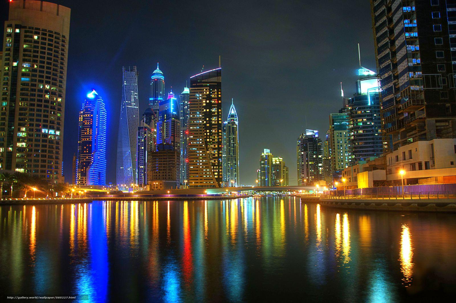 Descargar Gratis Dubai, Ciudad, Noche Fondos De Escritorio