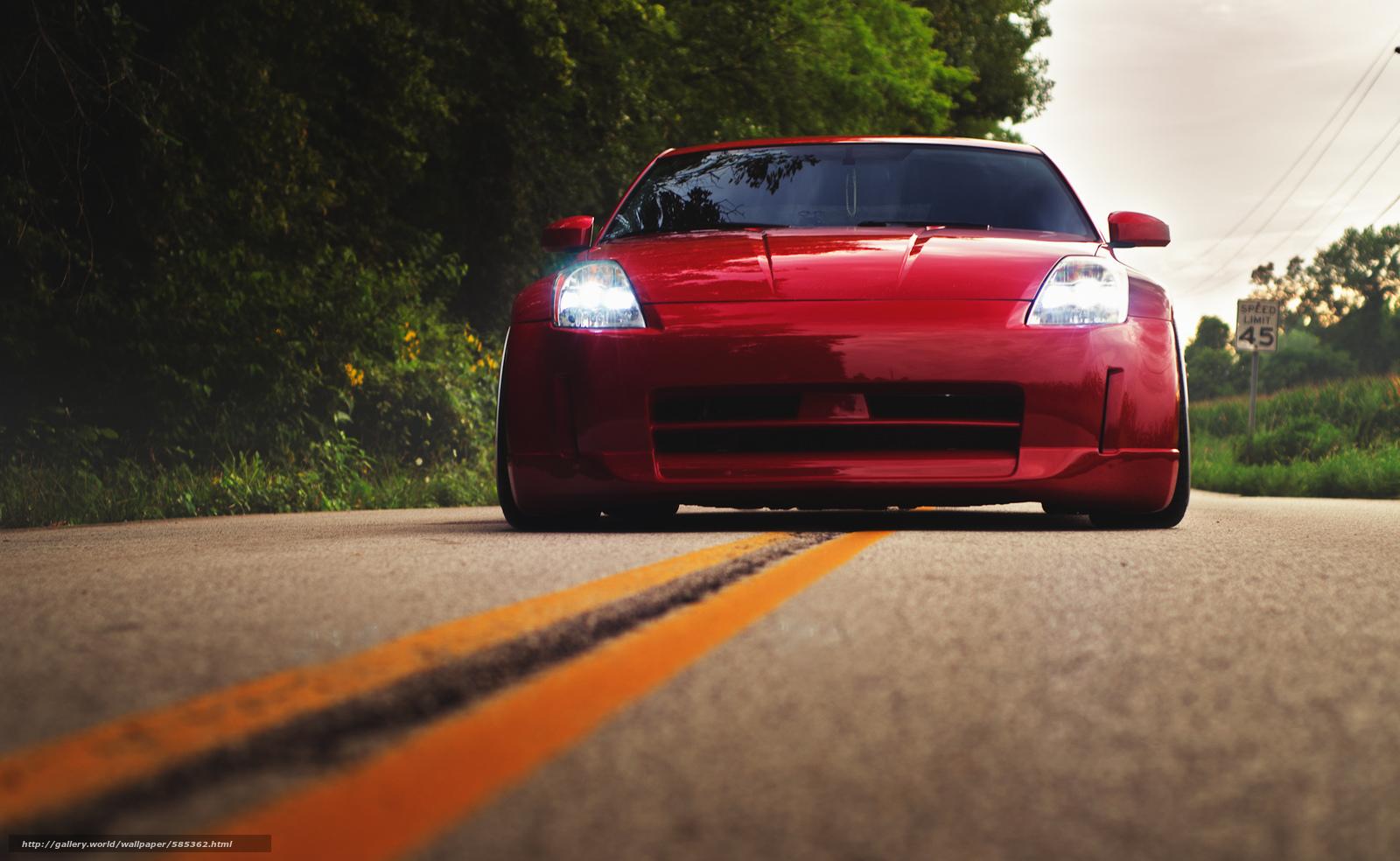 Скачать обои красный,  ниссан,  перед,  Nissan бесплатно для рабочего стола в разрешении 2048x1259 — картинка №585362
