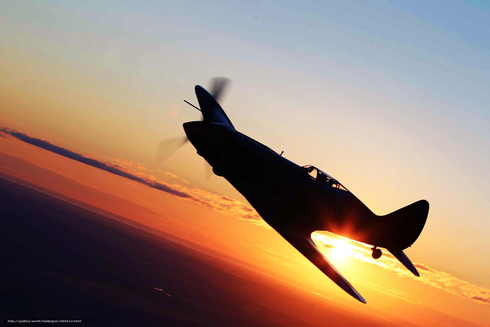 Скачать обои Самолёт,  Закат,  Крылья,  истребитель бесплатно для рабочего стола в разрешении 1920x1280 — картинка №586012