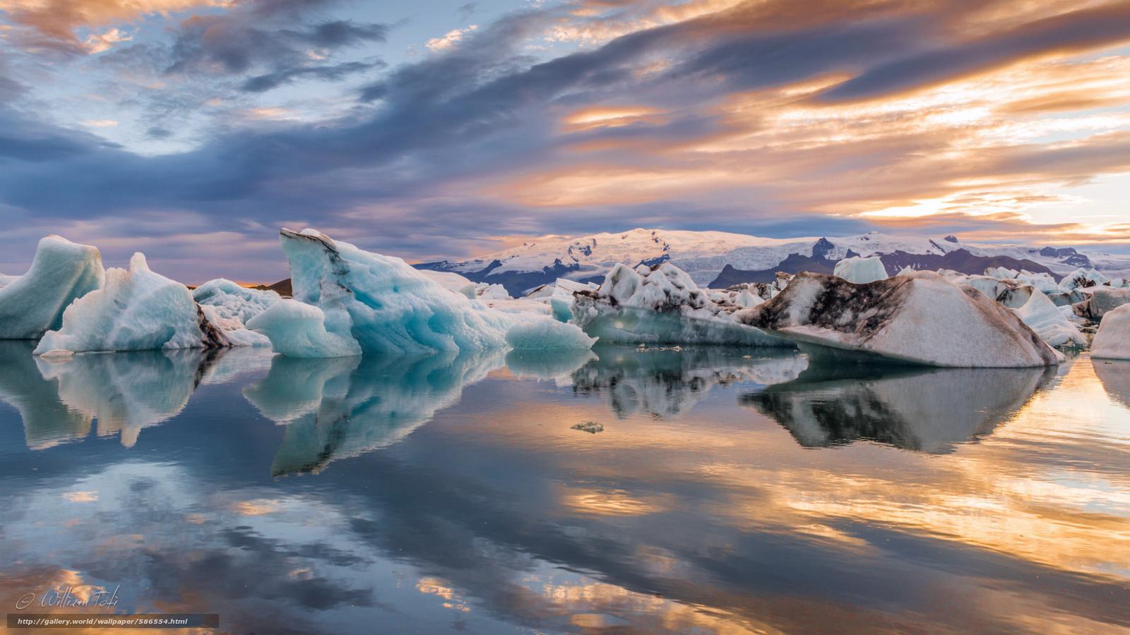 Scaricare Gli Sfondi Gelato Ghiacciai Nuvole Riflessione Sfondi