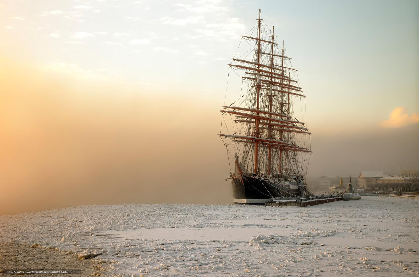 Скачать обои январь,  мороз,  Санкт-Петербург,  барк Седов бесплатно для рабочего стола в разрешении 2048x1357 — картинка №586806