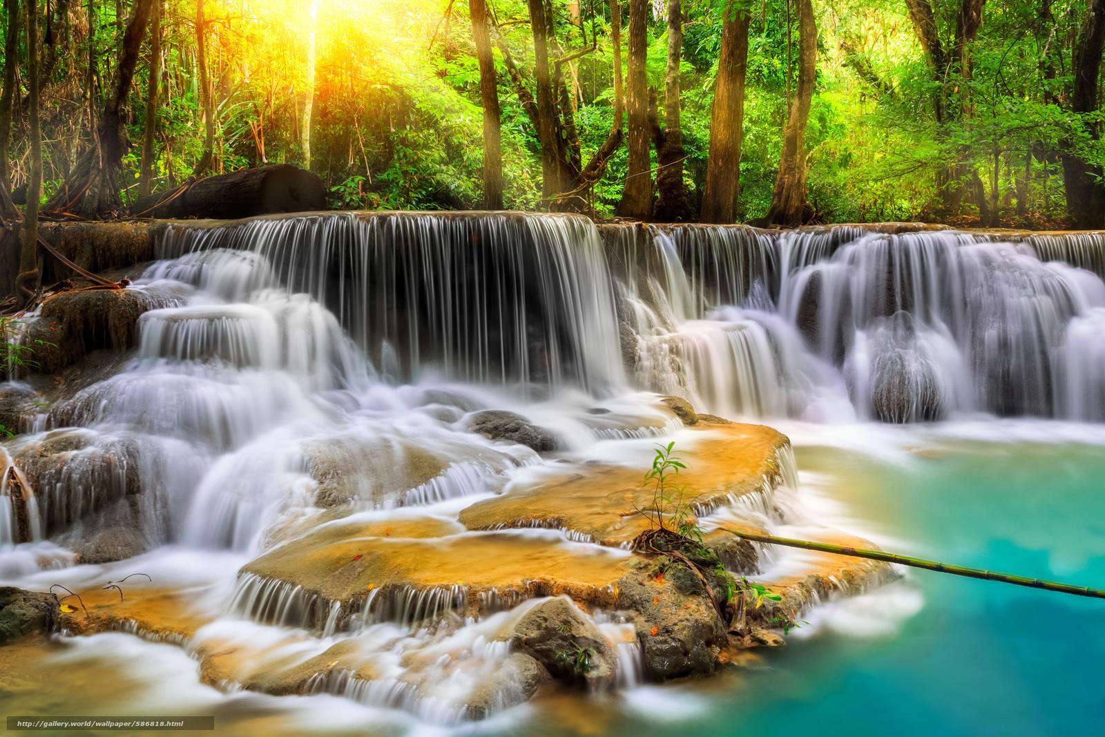 scaricare gli sfondi Thailandia,  FLOW,  pietre,  cascata Sfondi gratis per la risoluzione del desktop 2880x1920 — immagine №586818