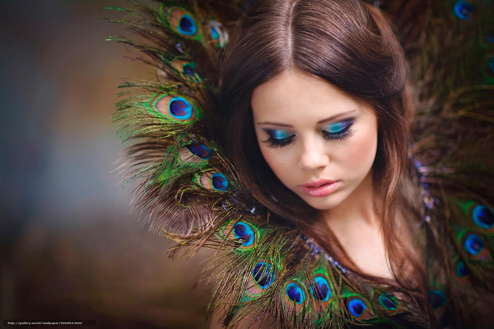 Скачать обои перья,  макияж,  портрет бесплатно для рабочего стола в разрешении 2048x1365 — картинка №586894