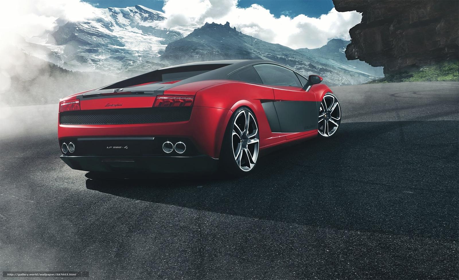 Скачать обои ламборджини,  Lamborghini,  красный,  горы бесплатно для рабочего стола в разрешении 1920x1171 — картинка №587003