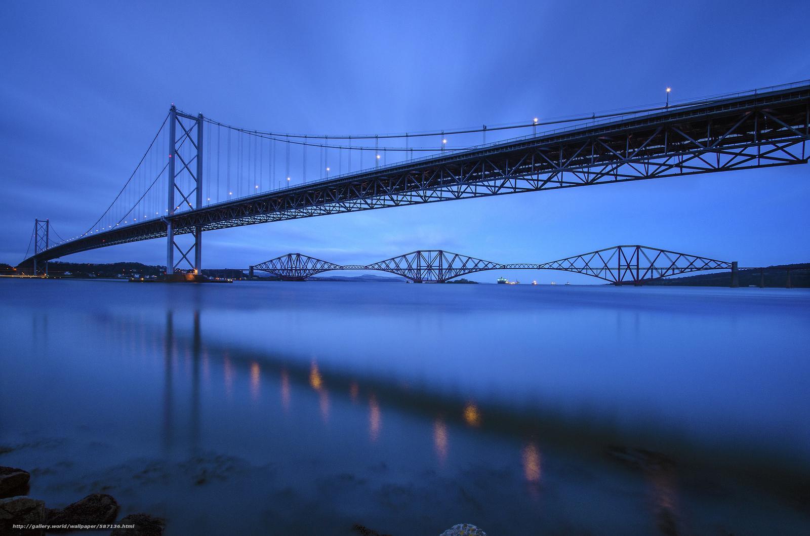 Скачать обои Шотландия,  синее,  мост,  река бесплатно для рабочего стола в разрешении 2048x1356 — картинка №587136