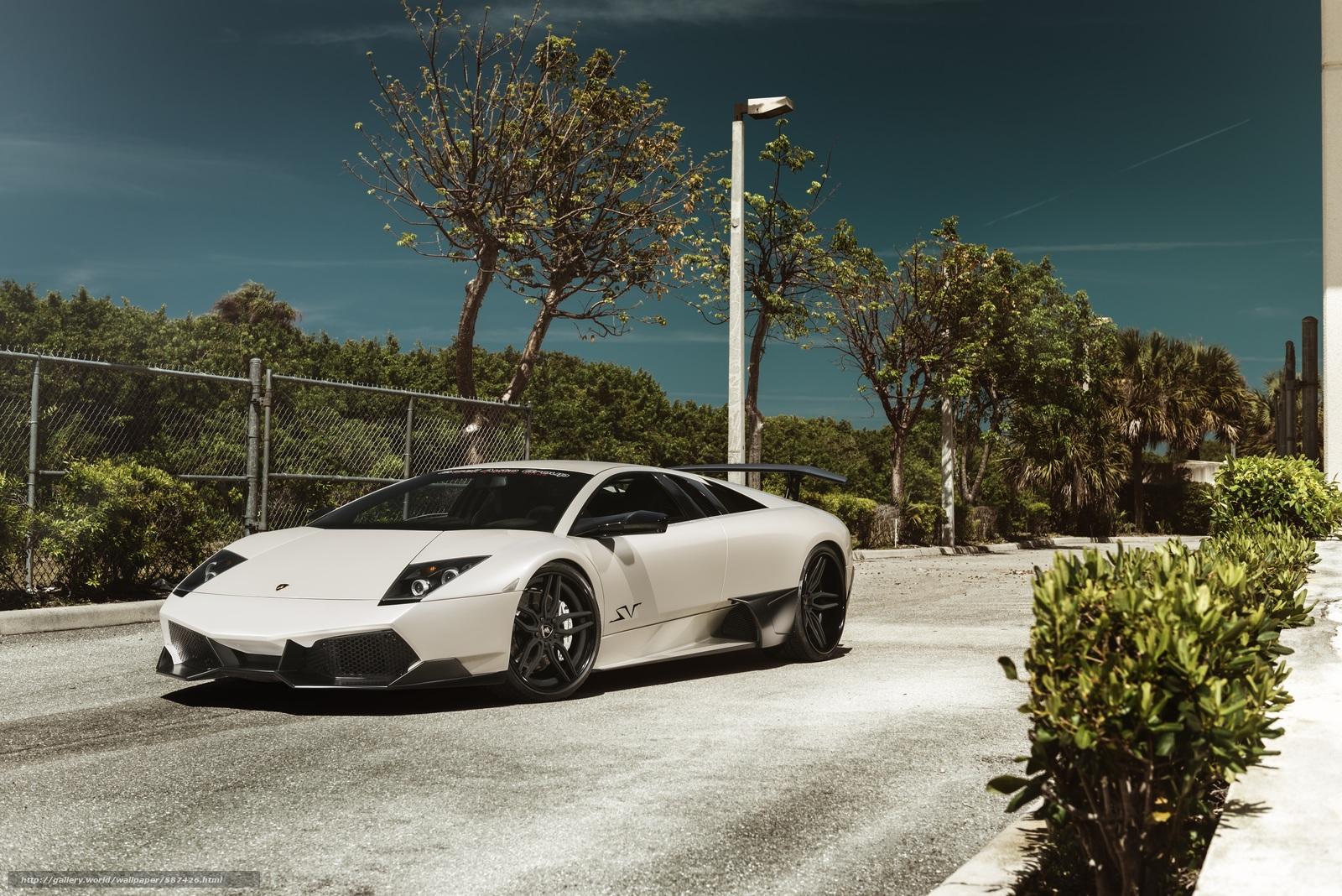 Скачать обои Lamborghini,  фонарь,  белая,  мурселаго бесплатно для рабочего стола в разрешении 6015x4015 — картинка №587426
