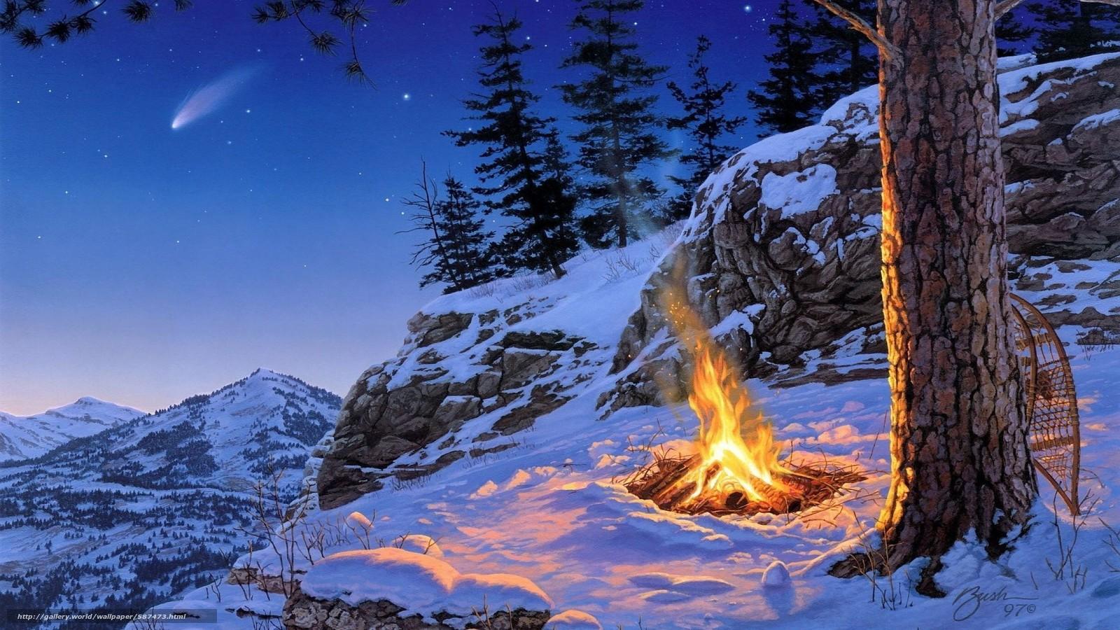 Скачать обои горы,  костер,  вечер,  снег бесплатно для рабочего стола в разрешении 2560x1440 — картинка №587473