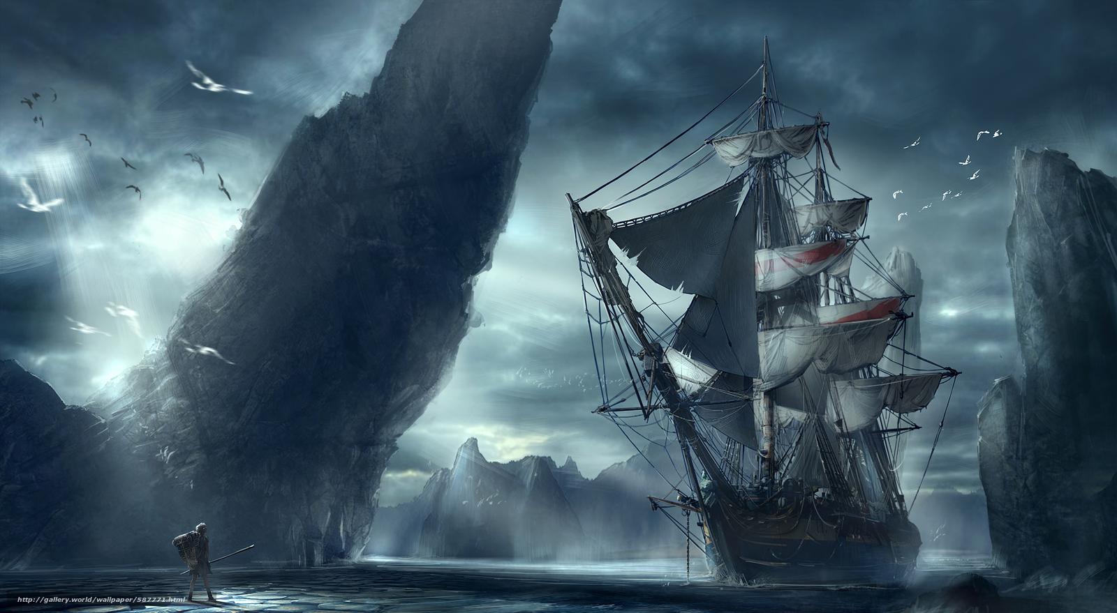 Скачать обои корабль,  человек,  гора,  море бесплатно для рабочего стола в разрешении 4879x2679 — картинка №587771